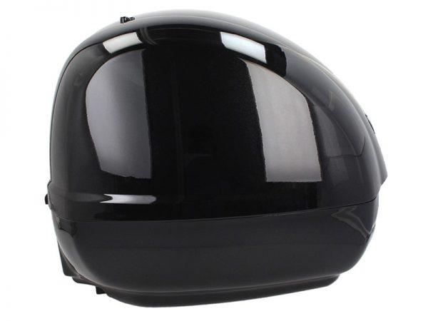 Vista lateral del baúl Vespa gts negro brillante