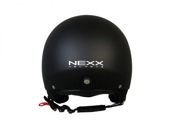 Vista dorso casco color negro de la marca Nexx X60