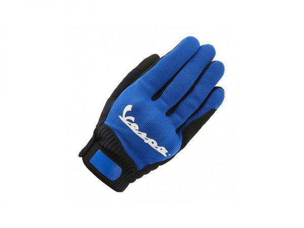 Vista lateral guantes color azul con detalles en negro marca Vespa