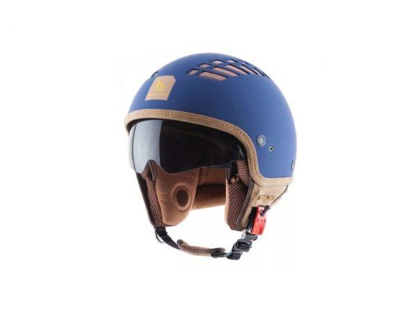 Casco vista frontal izquierdo color azul modelo Le Mans Cosmo
