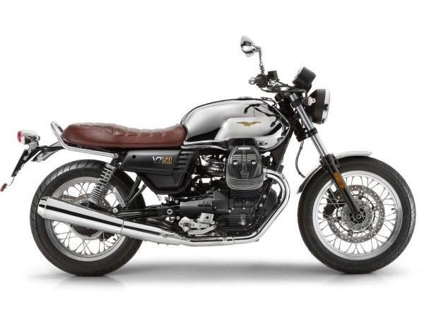 Lateral izquierdo Moto guizzi modelo V7 Anniversario color gris/blanca con detalles en marrón
